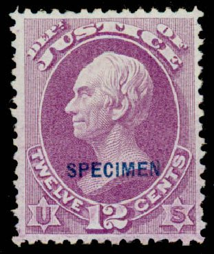 Values of US Stamps Scott Cat. #O30 - 12c 1873 Justice Official. Daniel Kelleher Auctions, Sep 2013, Sale 639, Lot 3800
