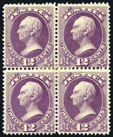 Price of US Stamp Scott Catalogue #O30 - 1873 12c Justice Official. Harmer-Schau Auction Galleries, Aug 2011, Sale 90, Lot 1721