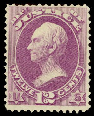 Value of US Stamp Scott Cat. O30 - 12c 1873 Justice Official. Daniel Kelleher Auctions, Aug 2015, Sale 672, Lot 2984
