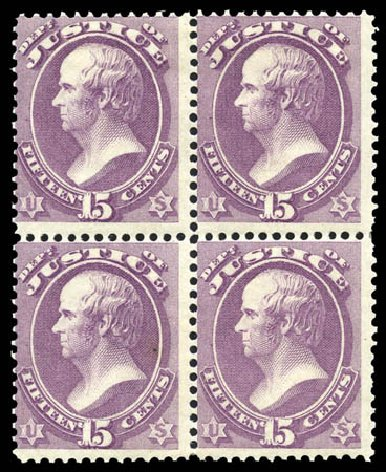 Cost of US Stamp Scott O31: 15c 1873 Justice Official. Matthew Bennett International, Mar 2011, Sale 336, Lot 1397