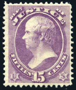 Costs of US Stamp Scott O31: 15c 1873 Justice Official. Harmer-Schau Auction Galleries, Feb 2010, Sale 84, Lot 1820
