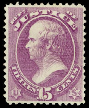 US Stamps Value Scott Catalog #O31: 1873 15c Justice Official. Daniel Kelleher Auctions, Dec 2013, Sale 640, Lot 600