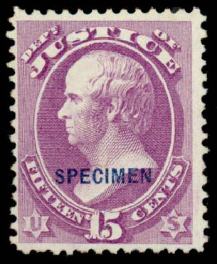 US Stamps Values Scott Cat. O31: 15c 1873 Justice Official. Daniel Kelleher Auctions, Sep 2013, Sale 639, Lot 3801