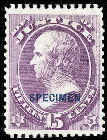 Values of US Stamps Scott Cat. #O31: 15c 1873 Justice Official. Matthew Bennett International, Sep 2011, Sale 338, Lot 2044