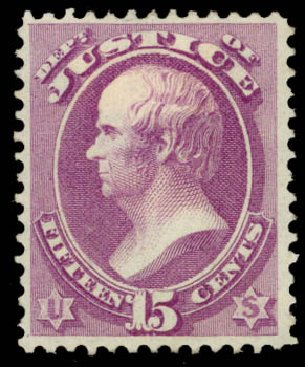 US Stamp Values Scott Catalogue O31 - 1873 15c Justice Official. Daniel Kelleher Auctions, May 2015, Sale 669, Lot 3354