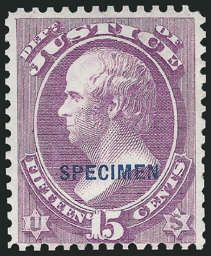 Values of US Stamp Scott Catalogue # O31 - 15c 1873 Justice Official. Robert Siegel Auction Galleries, Dec 2014, Sale 1090, Lot 1684
