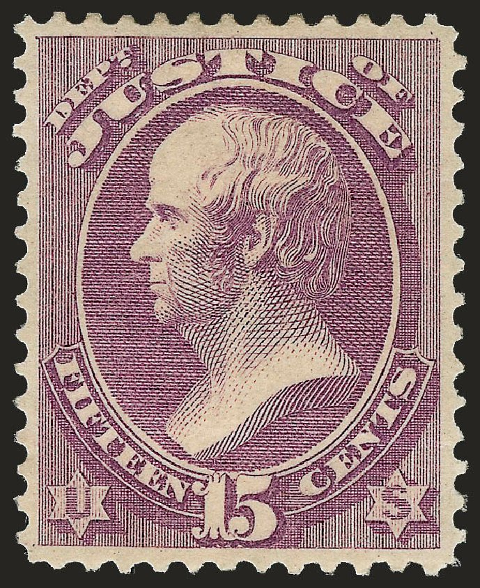 US Stamp Values Scott O31: 1873 15c Justice Official. Robert Siegel Auction Galleries, Jun 2010, Sale 992, Lot 2635