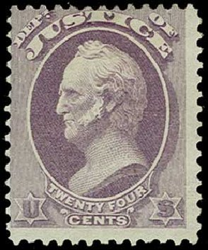 Cost of US Stamps Scott Cat. #O32: 24c 1873 Justice Official. H.R. Harmer, Jun 2015, Sale 3007, Lot 3487