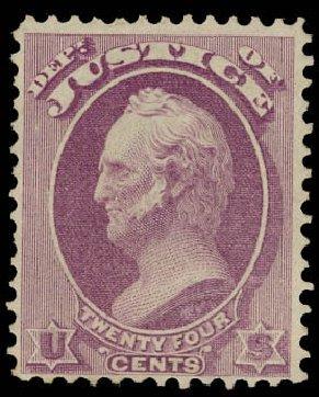 US Stamps Prices Scott Catalog # O32: 1873 24c Justice Official. Daniel Kelleher Auctions, Jun 2012, Sale 630, Lot 2107