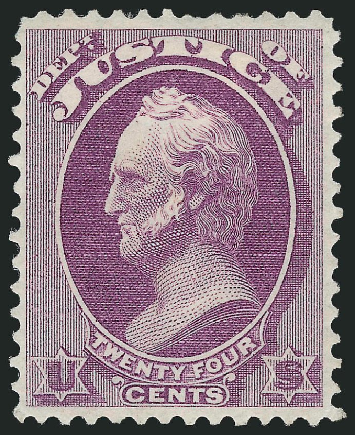 Costs of US Stamps Scott O32 - 1873 24c Justice Official. Robert Siegel Auction Galleries, Nov 2014, Sale 1085, Lot 4057