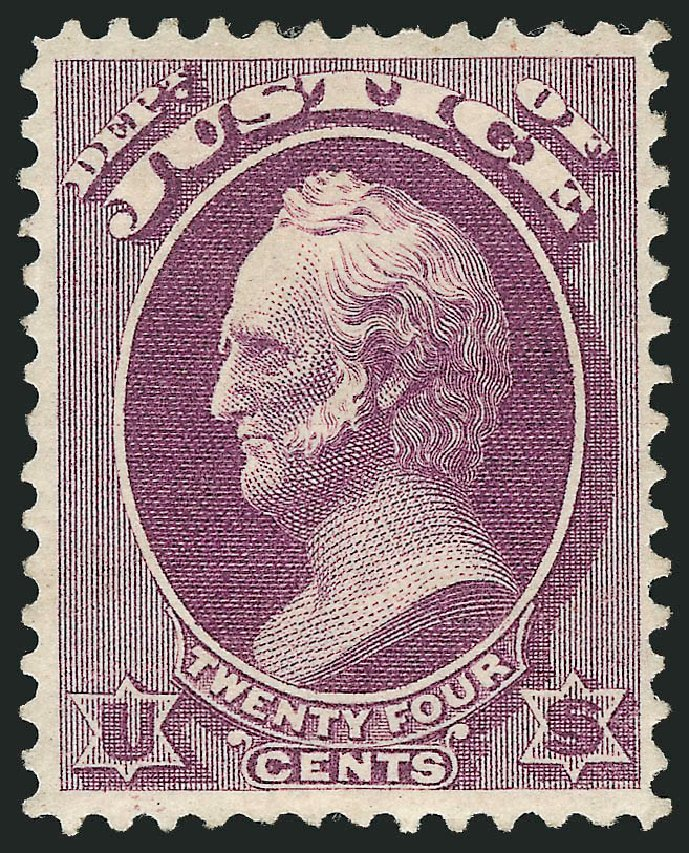 Price of US Stamps Scott Catalogue #O32: 24c 1873 Justice Official. Robert Siegel Auction Galleries, Feb 2015, Sale 1092, Lot 1457