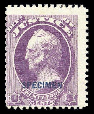Costs of US Stamps Scott Catalogue #O32: 1873 24c Justice Official. Matthew Bennett International, Sep 2010, Sale 333, Lot 4008