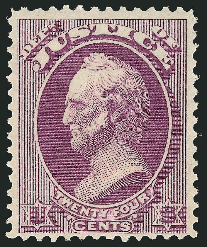 Prices of US Stamps Scott Catalog #O32: 1873 24c Justice Official. Robert Siegel Auction Galleries, Oct 2012, Sale 1033, Lot 4308