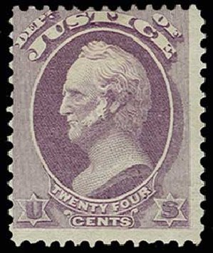 Cost of US Stamp Scott Catalog # O32 - 24c 1873 Justice Official. H.R. Harmer, Jun 2013, Sale 3003, Lot 1600