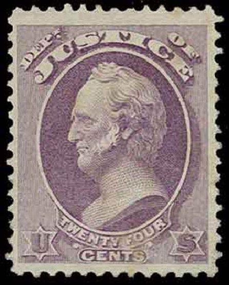 Price of US Stamp Scott O32: 24c 1873 Justice Official. H.R. Harmer, Nov 2013, Sale 3004, Lot 1400