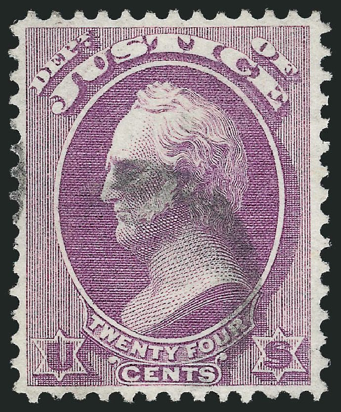 US Stamps Values Scott Catalog O32 - 1873 24c Justice Official. Robert Siegel Auction Galleries, Oct 2012, Sale 1032, Lot 3660
