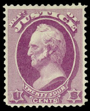 US Stamp Prices Scott Catalog # O32 - 24c 1873 Justice Official. Daniel Kelleher Auctions, Dec 2013, Sale 640, Lot 601