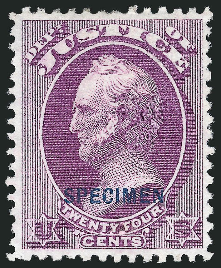 US Stamps Prices Scott # O32 - 1873 24c Justice Official. Robert Siegel Auction Galleries, Nov 2013, Sale 1061, Lot 4201