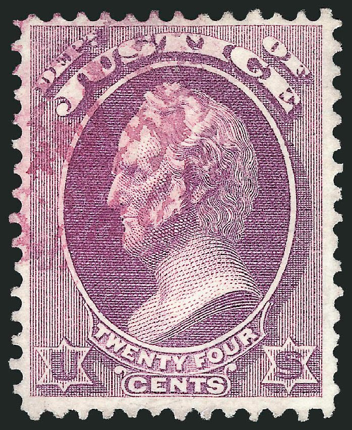 US Stamps Value Scott Cat. O32: 1873 24c Justice Official. Robert Siegel Auction Galleries, Dec 2013, Sale 1062, Lot 831