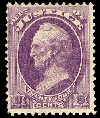 US Stamp Value Scott Cat. # O32: 24c 1873 Justice Official. Cherrystone Auctions, Nov 2010, Sale 201011, Lot 212