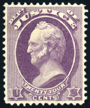 Costs of US Stamp Scott Cat. # O32: 1873 24c Justice Official. Harmer-Schau Auction Galleries, Aug 2011, Sale 90, Lot 1722