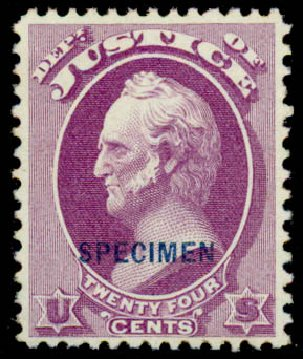 Values of US Stamp Scott Cat. O32 - 24c 1873 Justice Official. Daniel Kelleher Auctions, Sep 2013, Sale 639, Lot 3802