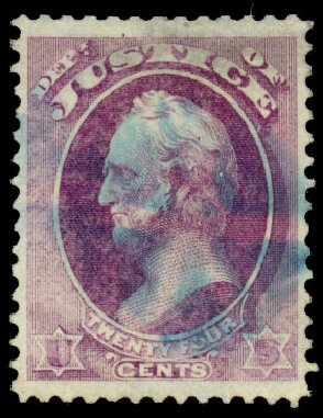 US Stamps Values Scott # O32: 24c 1873 Justice Official. Daniel Kelleher Auctions, Dec 2013, Sale 640, Lot 602