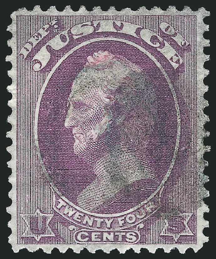 Value of US Stamps Scott O32: 1873 24c Justice Official. Robert Siegel Auction Galleries, Dec 2013, Sale 1062, Lot 832