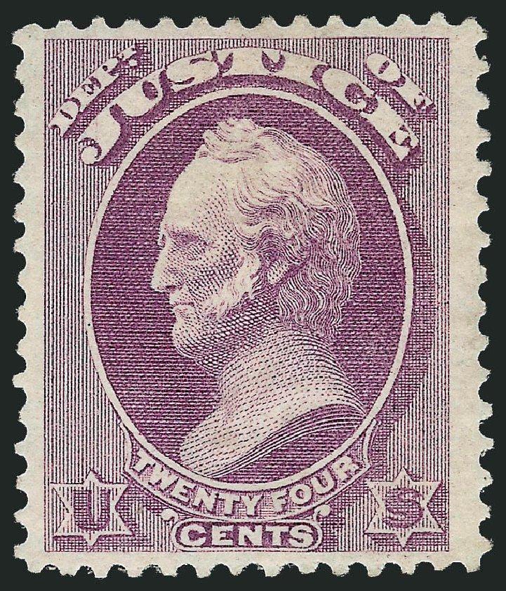 US Stamps Value Scott Cat. #O32: 24c 1873 Justice Official. Robert Siegel Auction Galleries, Oct 2010, Sale 997, Lot 6282