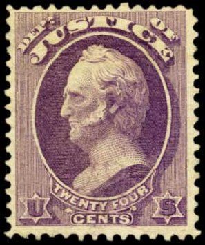 Value of US Stamp Scott Catalog O32: 1873 24c Justice Official. Harmer-Schau Auction Galleries, Feb 2012, Sale 92, Lot 1323