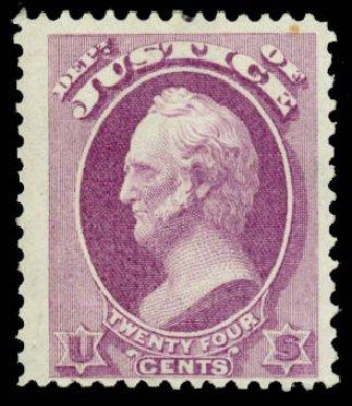 US Stamps Value Scott # O32 - 24c 1873 Justice Official. Daniel Kelleher Auctions, Sep 2013, Sale 639, Lot 473