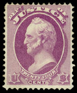 Values of US Stamps Scott Catalogue # O32: 1873 24c Justice Official. Daniel Kelleher Auctions, Dec 2014, Sale 661, Lot 463