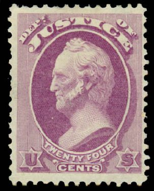 Costs of US Stamp Scott Catalogue # O32: 24c 1873 Justice Official. Daniel Kelleher Auctions, Sep 2014, Sale 655, Lot 876