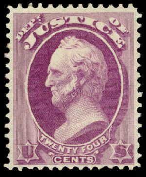 Costs of US Stamp Scott Catalogue #O32: 1873 24c Justice Official. Daniel Kelleher Auctions, May 2015, Sale 669, Lot 3356