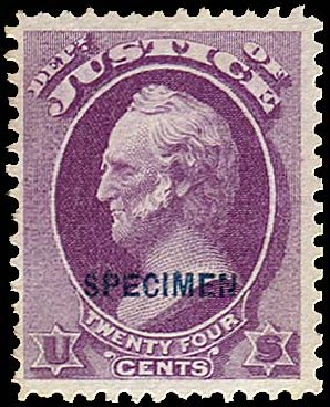 Values of US Stamp Scott Catalogue #O32 - 24c 1873 Justice Official. Regency-Superior, Nov 2014, Sale 108, Lot 1216