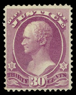 US Stamps Value Scott Cat. #O33 - 1873 30c Justice Official. Daniel Kelleher Auctions, May 2015, Sale 669, Lot 3357