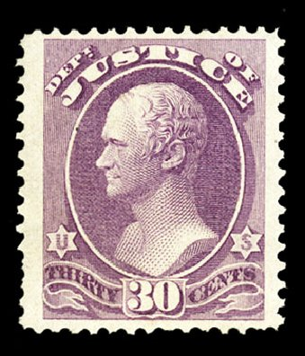 US Stamps Prices Scott #O33: 30c 1873 Justice Official. Cherrystone Auctions, Jul 2015, Sale 201507, Lot 2218
