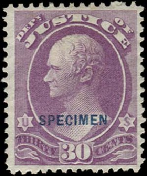 US Stamps Prices Scott Cat. #O33: 1873 30c Justice Official. Regency-Superior, Aug 2015, Sale 112, Lot 1170