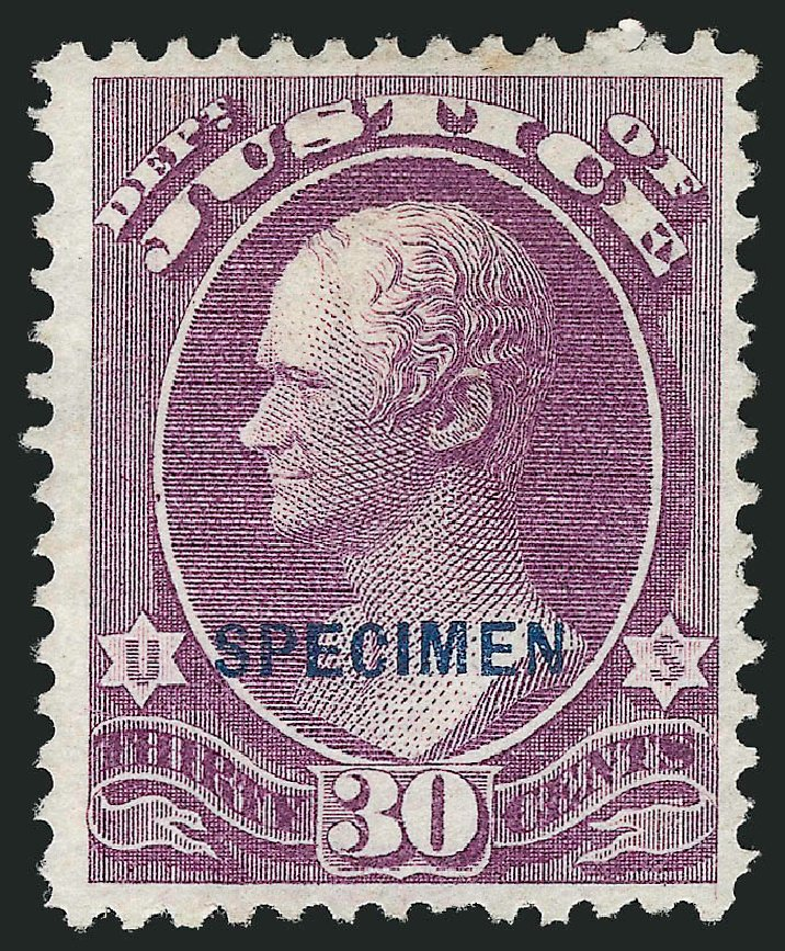US Stamps Values Scott Catalogue #O33 - 30c 1873 Justice Official. Robert Siegel Auction Galleries, Mar 2015, Sale 1095, Lot 560