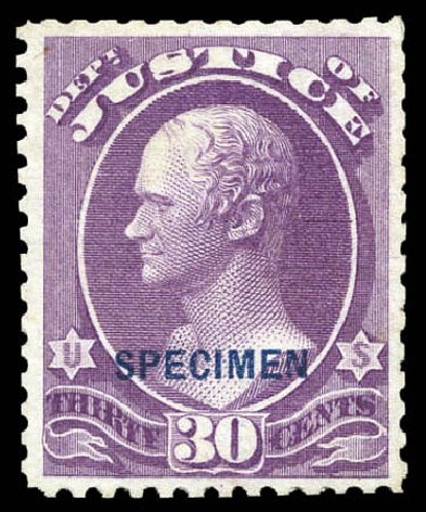 US Stamp Prices Scott Catalog # O33: 1873 30c Justice Official. Matthew Bennett International, Mar 2011, Sale 336, Lot 1401