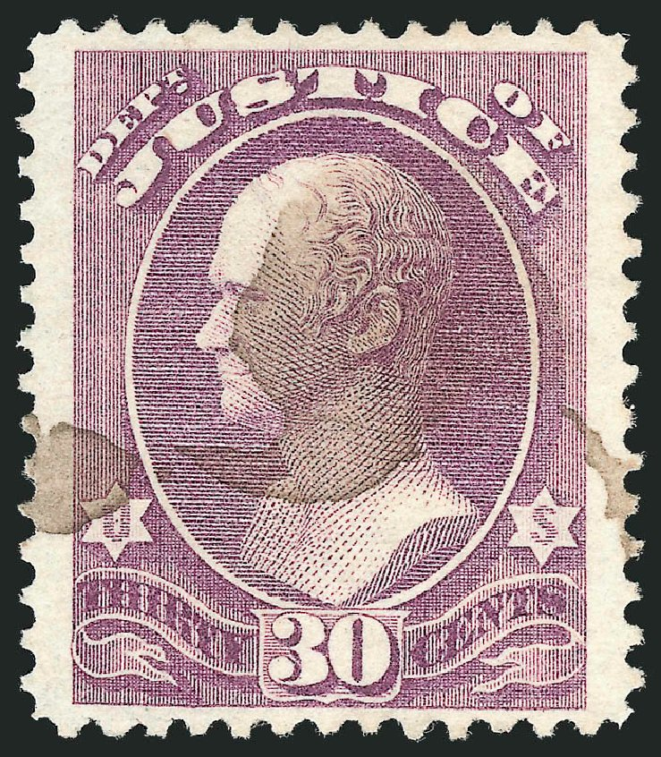 US Stamps Prices Scott Cat. #O33: 30c 1873 Justice Official. Robert Siegel Auction Galleries, Oct 2012, Sale 1032, Lot 3661