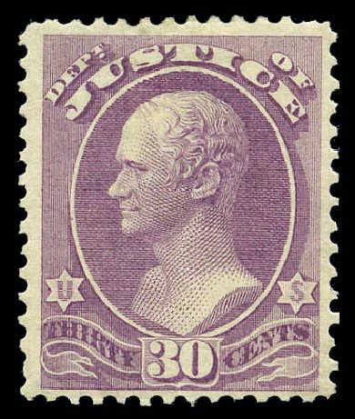 Prices of US Stamp Scott Catalog O33 - 1873 30c Justice Official. Matthew Bennett International, Sep 2010, Sale 333, Lot 3994