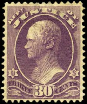 Price of US Stamp Scott Catalog # O33: 1873 30c Justice Official. Harmer-Schau Auction Galleries, Feb 2012, Sale 92, Lot 1324
