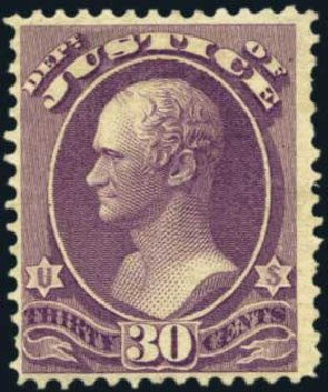 Costs of US Stamp Scott Cat. # O33: 1873 30c Justice Official. Harmer-Schau Auction Galleries, Aug 2012, Sale 94, Lot 1804