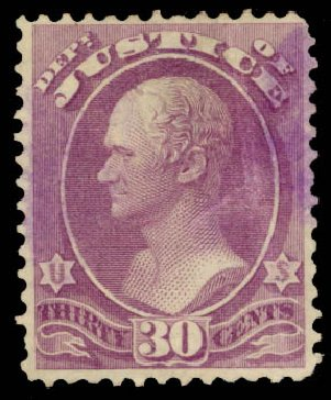 US Stamps Value Scott O33 - 1873 30c Justice Official. Daniel Kelleher Auctions, Dec 2013, Sale 640, Lot 604