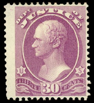 Prices of US Stamp Scott Catalog # O33: 1873 30c Justice Official. Daniel Kelleher Auctions, Aug 2015, Sale 672, Lot 2985