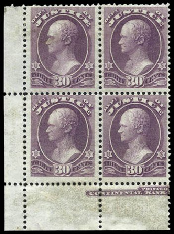 Prices of US Stamp Scott Catalog # O33: 1873 30c Justice Official. Matthew Bennett International, Mar 2011, Sale 336, Lot 1402