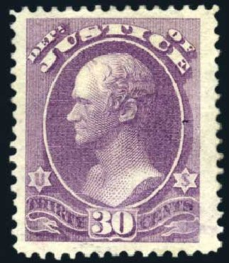 Cost of US Stamps Scott Catalog # O33 - 1873 30c Justice Official. Harmer-Schau Auction Galleries, Feb 2010, Sale 84, Lot 1822