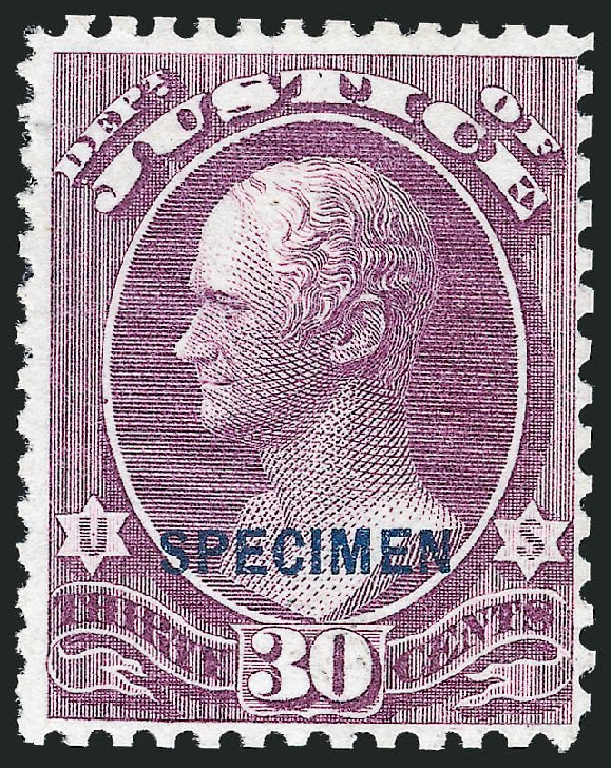 US Stamps Values Scott Cat. O33 - 1873 30c Justice Official. Robert Siegel Auction Galleries, Nov 2013, Sale 1061, Lot 4202