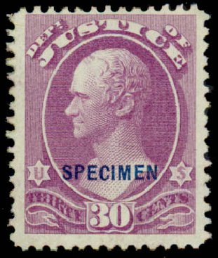 Price of US Stamp Scott Cat. O33 - 30c 1873 Justice Official. Daniel Kelleher Auctions, Sep 2013, Sale 639, Lot 3803